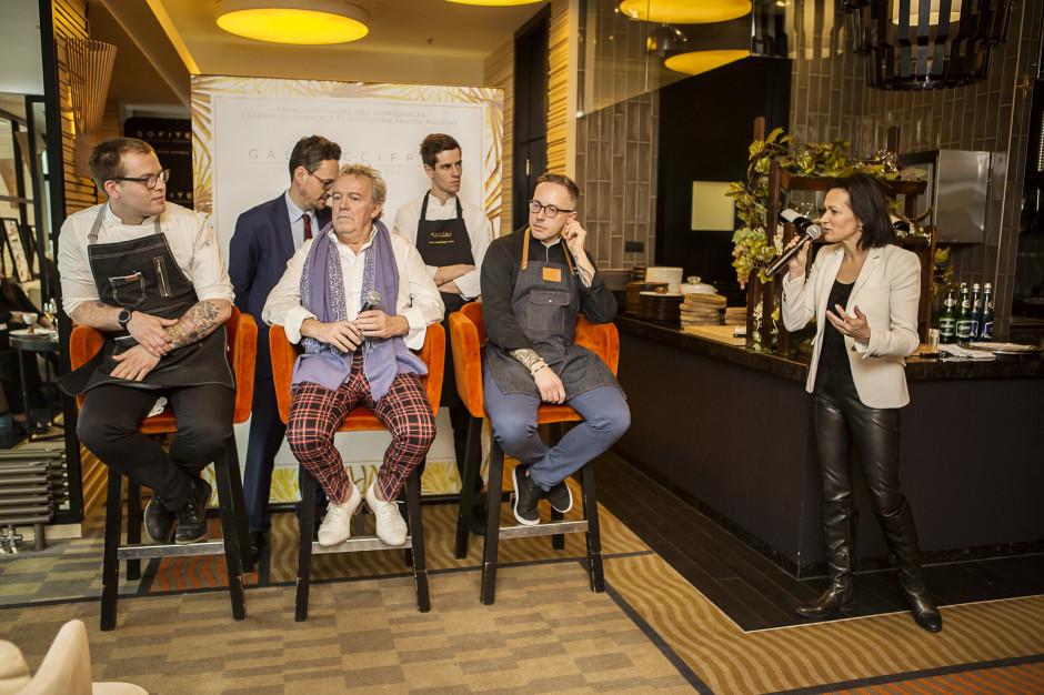 Dawid Makurat, szef cukierni Lourse w hotelu Raffles Europejski, Alain Passard, szef restauracji Arpège, Maciej Majewski, szef kuchni restauracji La Brasserie Moderne, fot. mat. prasowe