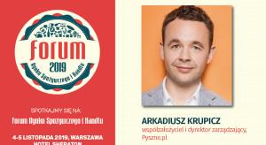 Arkadiusz Krupicz, współzałożyciel Pyszne.pl, prelegentem FRSiH 2019