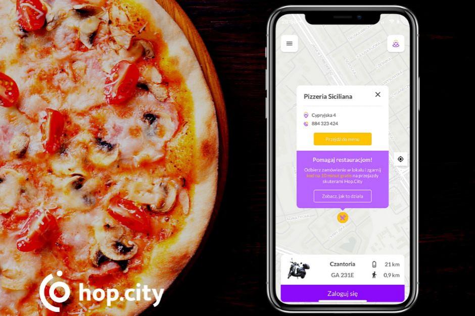 Aplikacja Hop.City lokalizuje dostępne restauracje z odbiorem osobistym