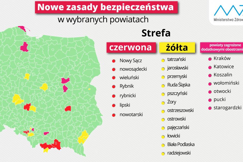 Siedem powiatów w kategorii czerwonej, dwanaście w żółtej