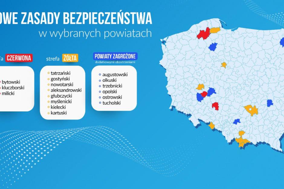 MZ: w strefie czerwonej 3 powiaty, 8 powiatów w żółtej