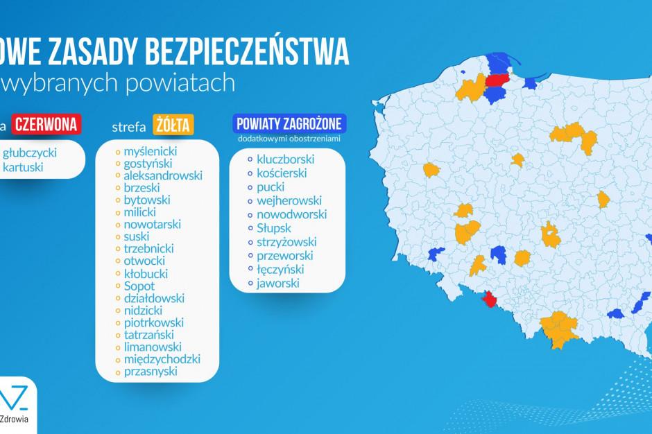 Ministerstwo Zdrowia: w strefie czerwonej 2 powiaty, w żółtej – 19