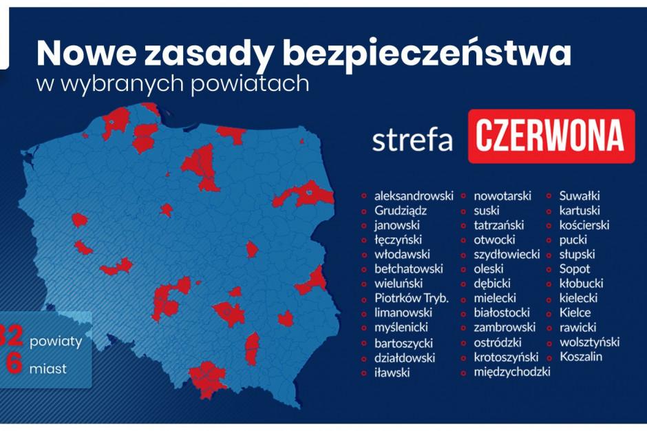 38 powiatów od soboty w czerwonej strefie