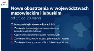 Od 15 marca hotele i galerie zamknięte na Mazowszu i w Lubuskiem