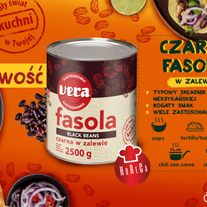 Czarna fasola w zalewie 2500g- kolejna nowość w marce VERA Gastronomia firmy Limpol dedykowana sektorowi HoReCa